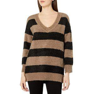 BB Dakota Fuzzy Game Stripe Eyelash V-Neck Sweater